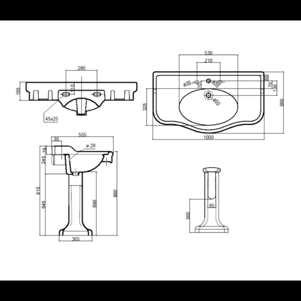 Sbordoni Klassieke wastafel SB Palladio 100cm  met porseleinen zuil