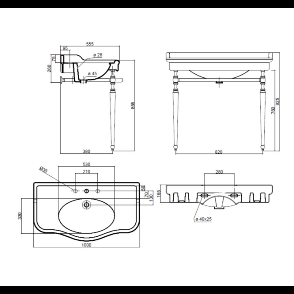 Sbordoni Klassieke wastafel SB Palladio 100cm  met onderstel