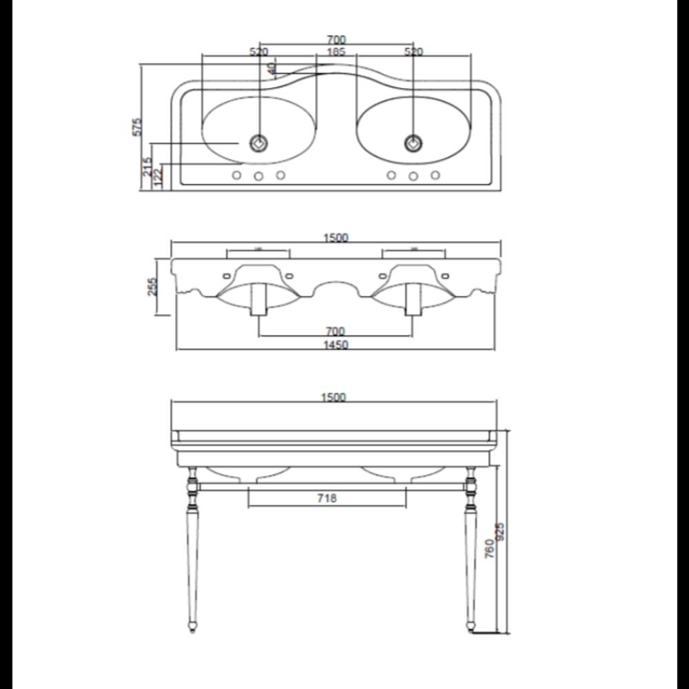 Sbordoni Klassieke wastafel SB Palladio 150cm  met onderstel