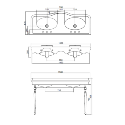 Palladio 150cm met onderstel
