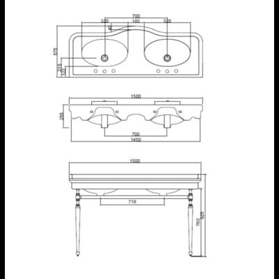Palladio 150cm mit Untergestell