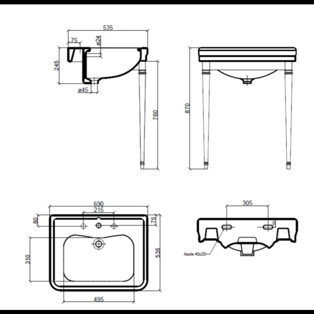 Sbordoni SB Neoclassica 69cm basin with metal stand