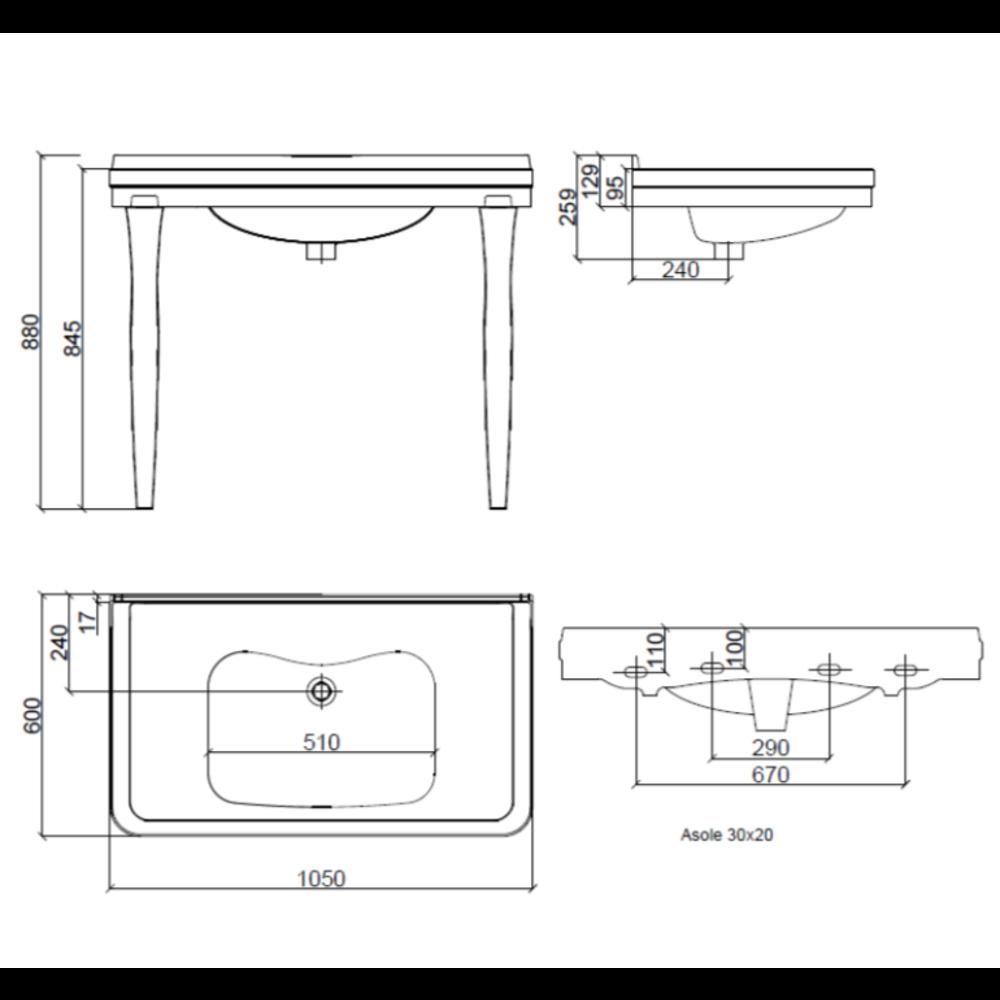 Sbordoni SB Neoclassica 105cm console basin with ceramic legs
