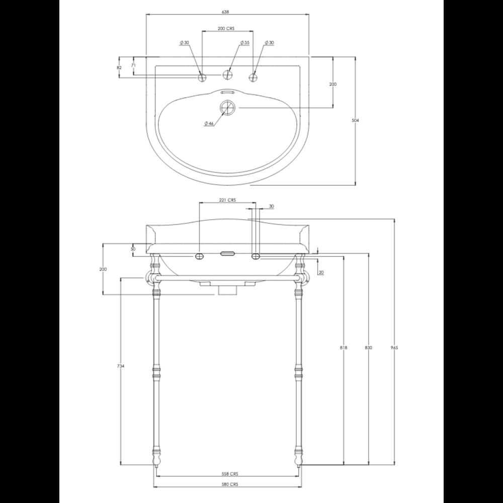 Lefroy Brooks Lissa Doon LB  Lissa Doon 62cm basin with metal stand