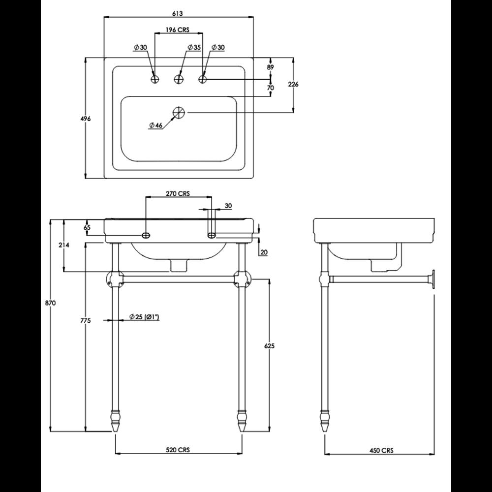 Lefroy Brooks Metropole Klassieke wastafel LB Metropole 62cm met metalen onderstel