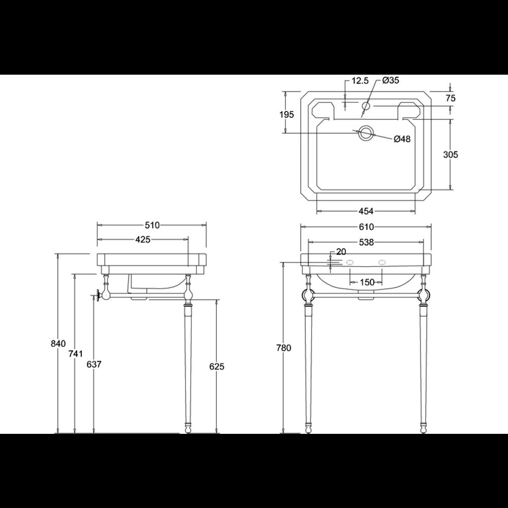 Burlington Klassieke wastafel Victorian 61cm met onderstel chroom