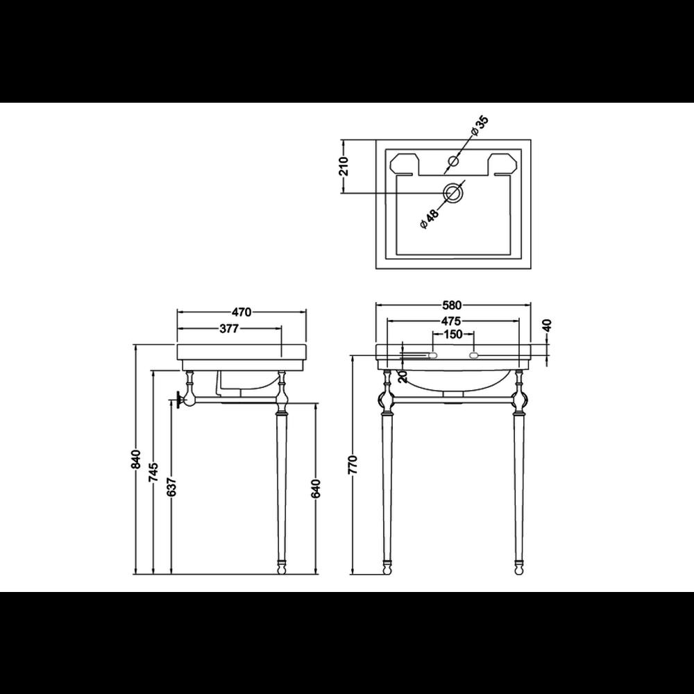Burlington Klassieke wastafel Contemporary 58cm met onderstel B1-T22A