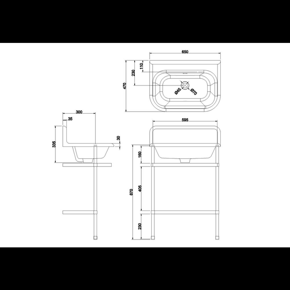 Burlington Traditional medium 65cm wastafel met rvs onderstel
