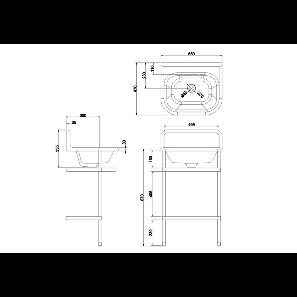 Burlington Traditional small 55cm UPS wastafel met rvs onderstel