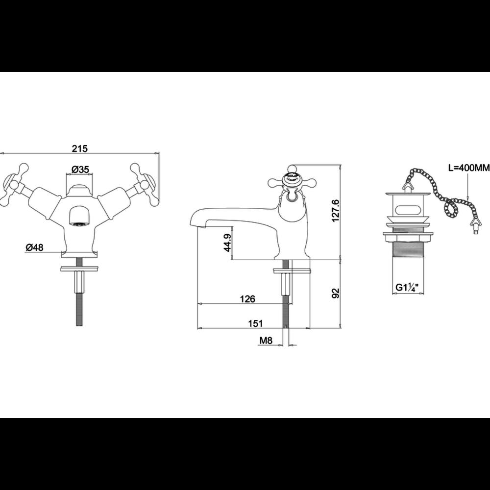 Burlington Claremont Black 1-hole basin mixer with plug & chain