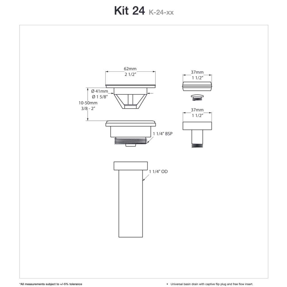 Victoria + Albert V+A wastafel afvoerplug met 'flip-top' K-24