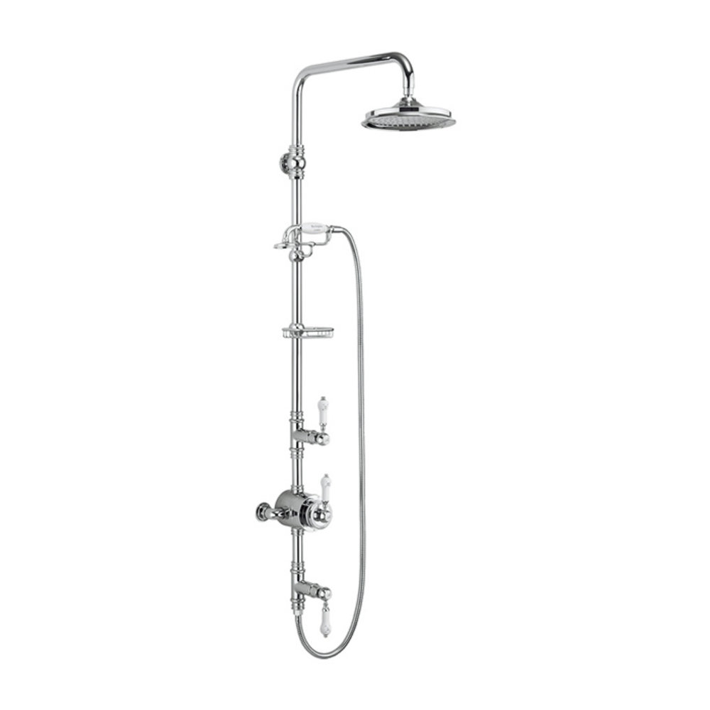 BB Edwardian Stour Exposed thermostatic shower valve with shower rose and hand shower kit