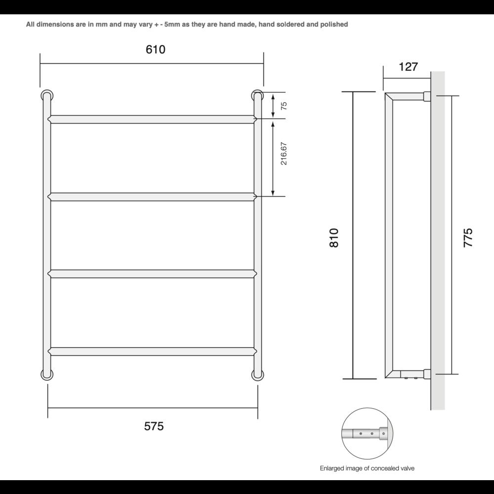 Bard & Brazier B&B Modern design towel rail D-Rail DRW80/60 - 188W