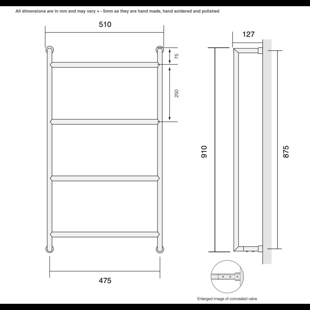 Bard & Brazier B&B Modern design towel rail D-Rail DRW90/50 - 179W