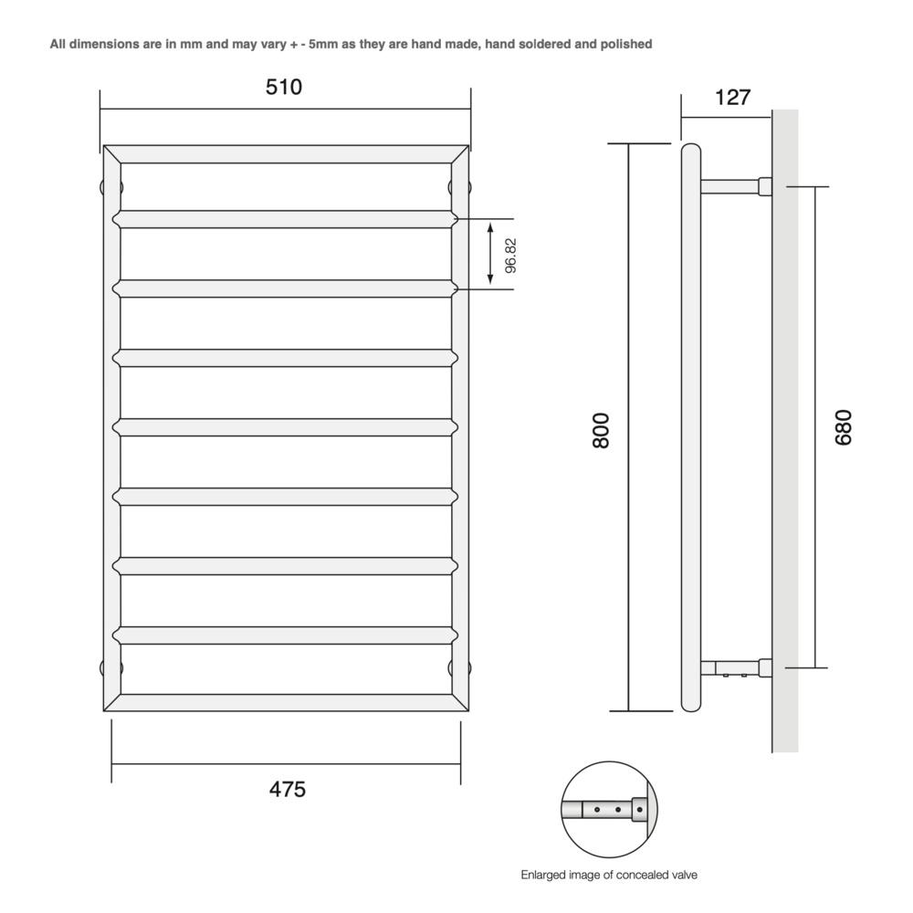 Bard & Brazier B&B Modern design towel rail D-Rail DRW80/50 - 284W