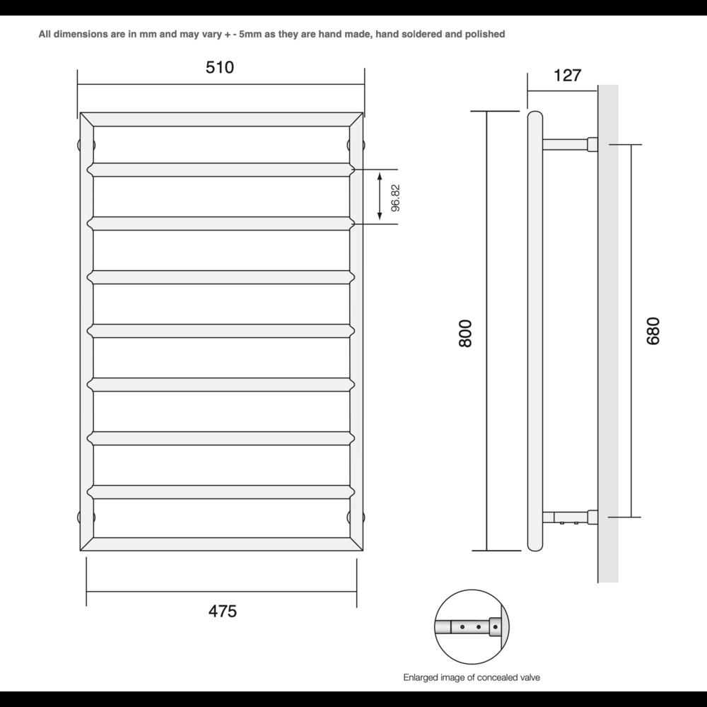 Bard & Brazier B&B Moderne contemporary handdoekradiator D-RailDRW80/50 - 284W