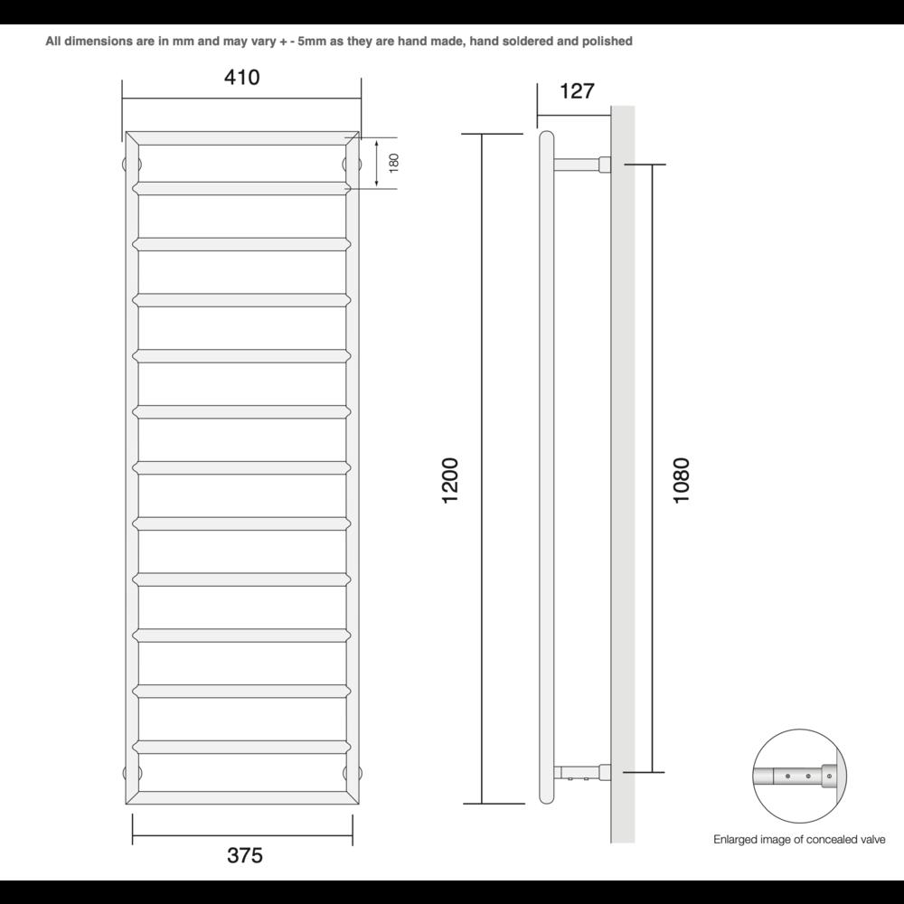 Bard & Brazier B&B Modern design towel rail D-Rail DRW120/40 - 352W