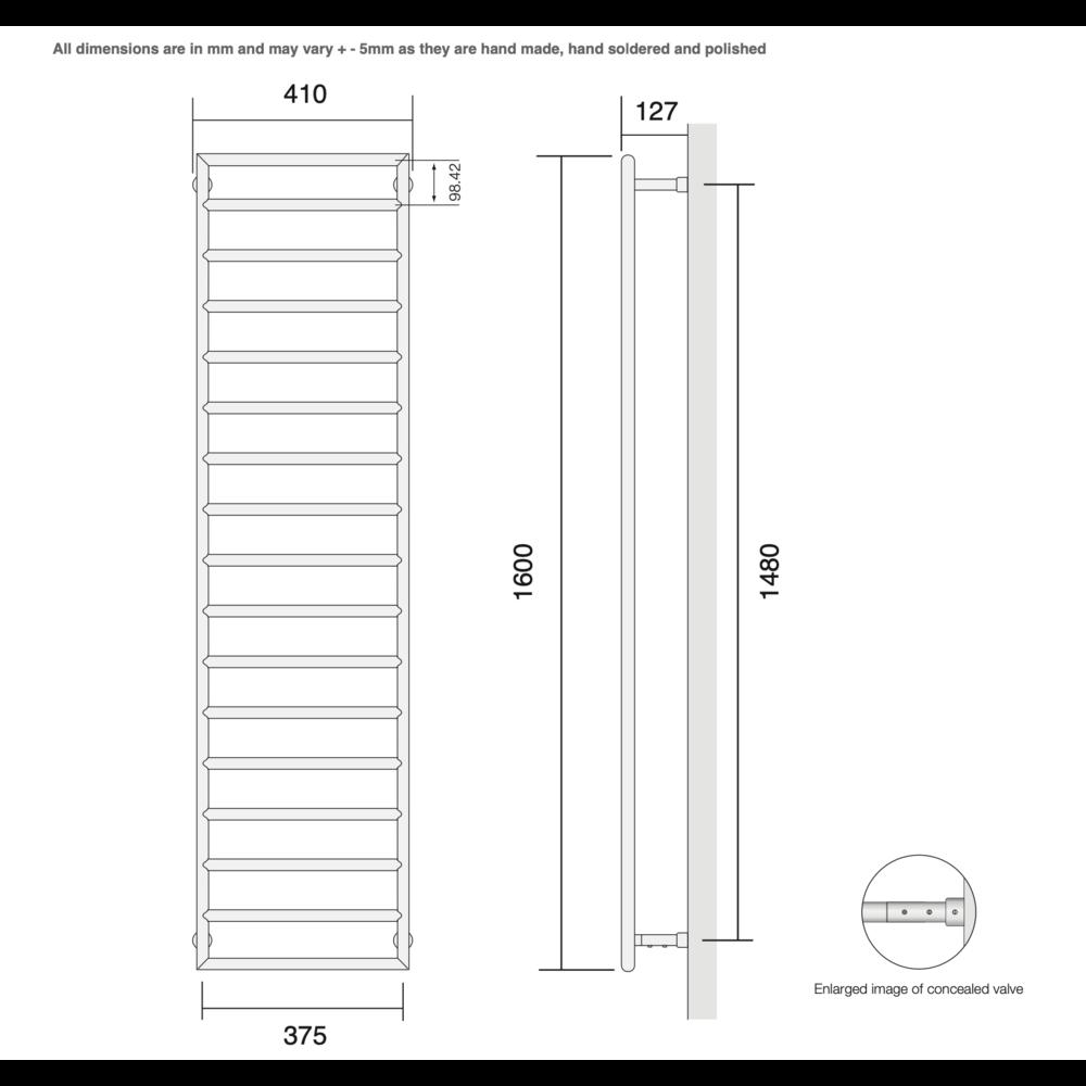 Bard & Brazier B&B Modern design towel rail D-Rail DRW160/40 - 463W