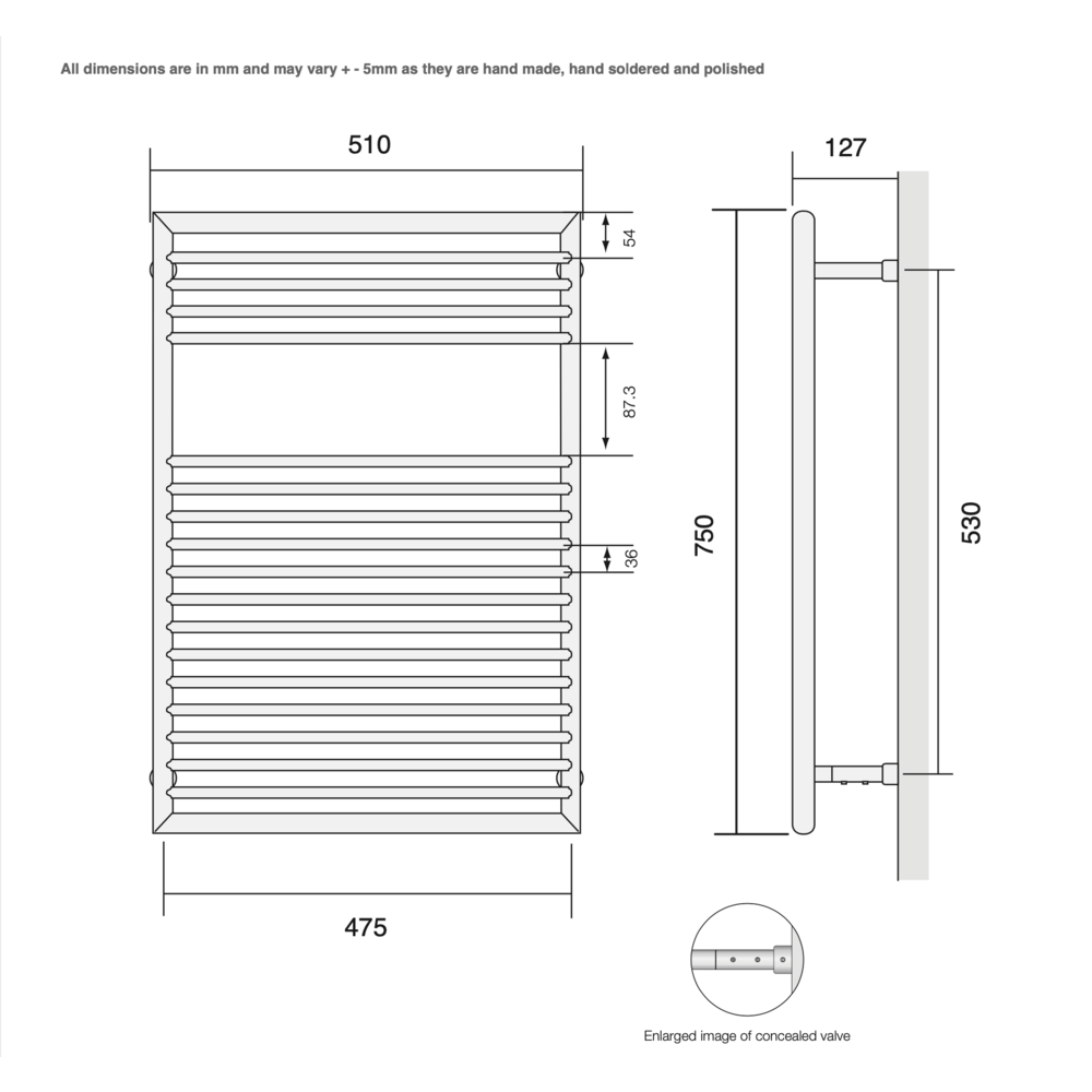 Bard & Brazier B&B Modern design towel rail D-Rail DRW75/50 - 308W