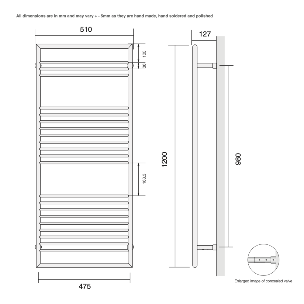 Bard & Brazier B&B Modern design towel rail D-Rail DRW120/50 - 396W