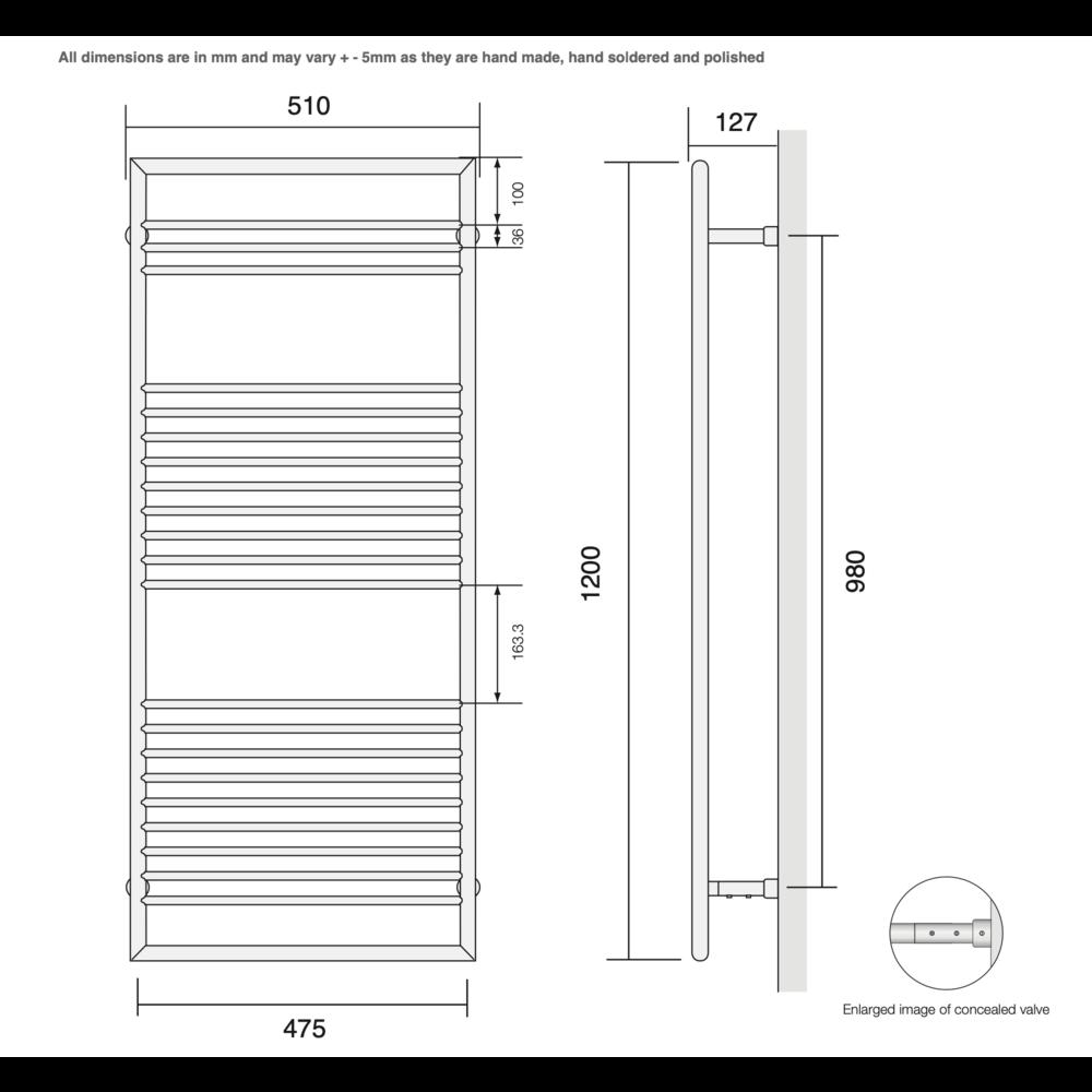 Bard & Brazier B&B Moderne contemporary handdoekradiator D-Rail DRW120/50  - 396W