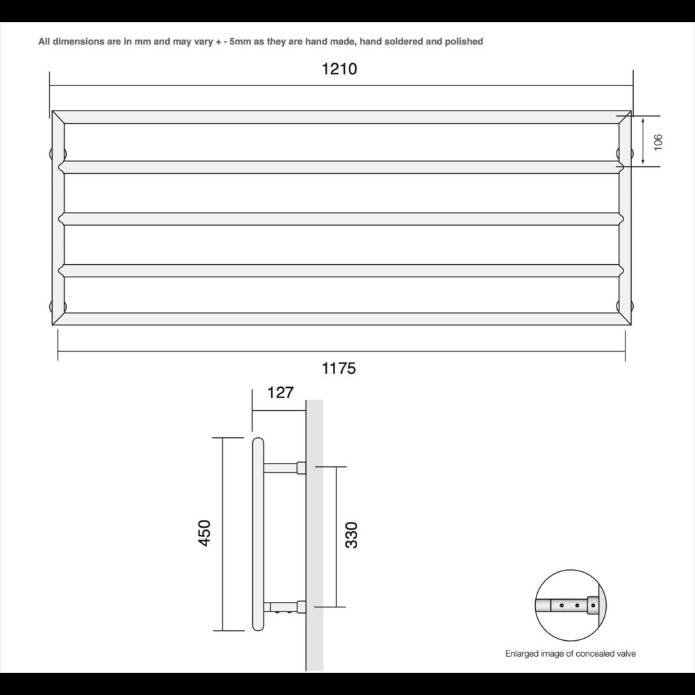 Bard & Brazier B&B Modern design towel rail D-Rail DRW45/120 - 384W