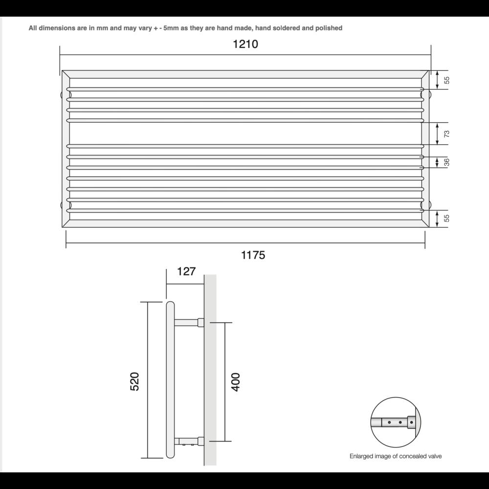 Bard & Brazier B&B Modern design towel rail D-Rail DRW52/120 - 472W