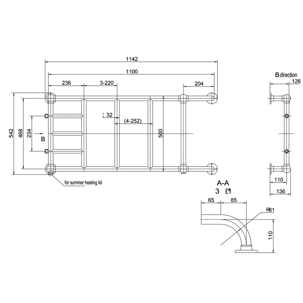 Burlington Klassieke wand-handdoekradiator  Chaplin R12