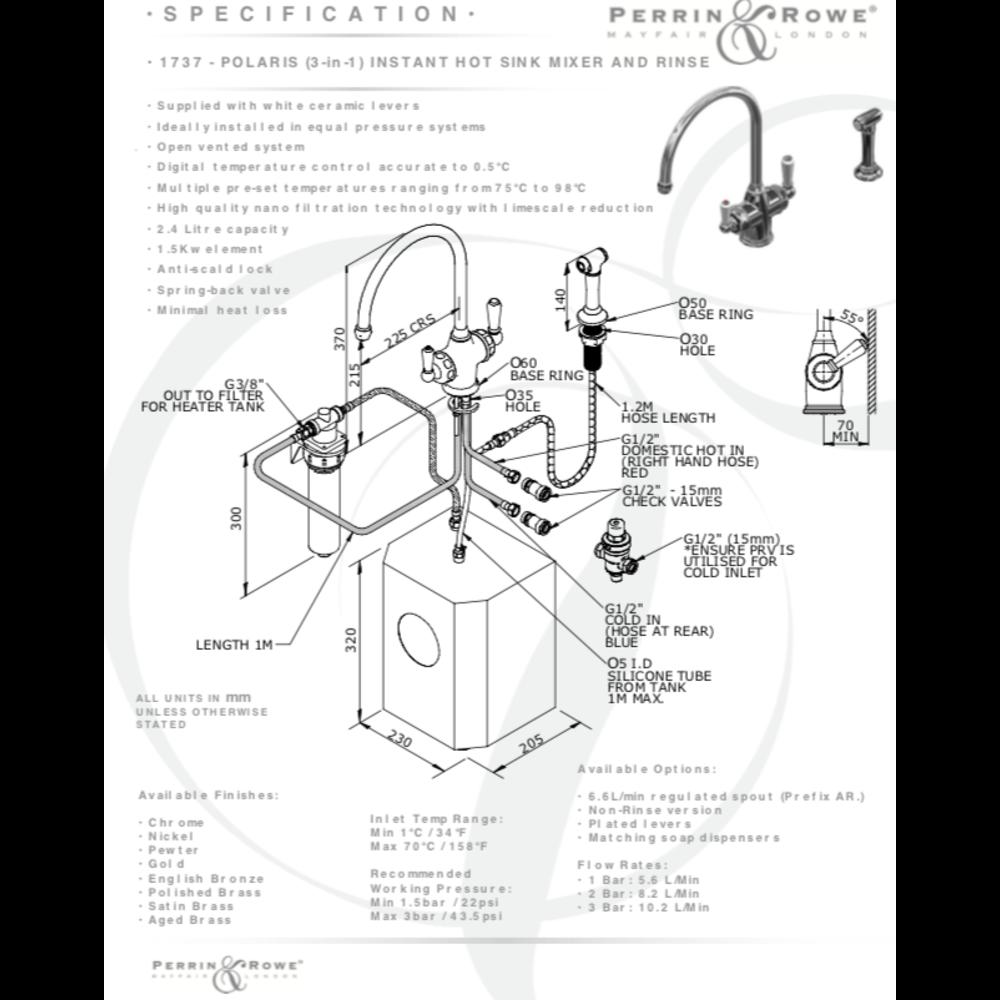 Perrin & Rowe Traditional 3-in-1 instant hot water kraan Polaris met handdouche E.1737