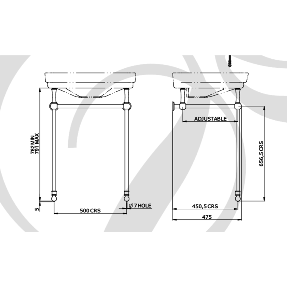 Perrin & Rowe Victorian Klassieke wastafel Victorian 63.5cm met metalen onderstel