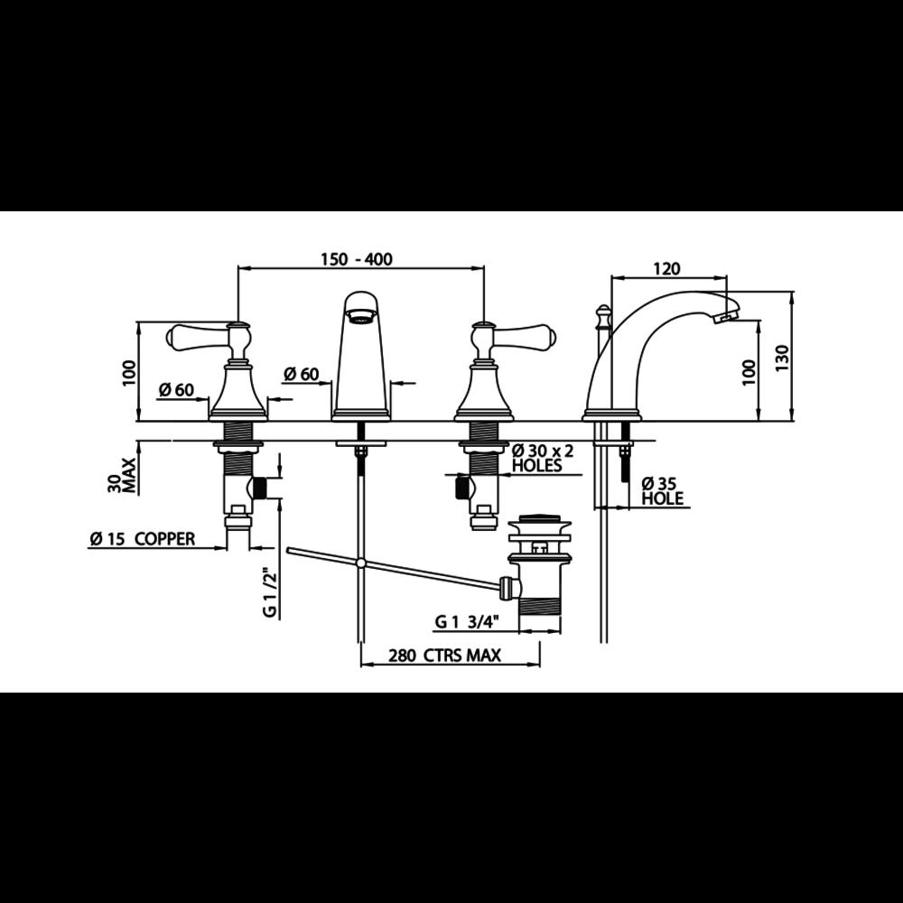 Perrin & Rowe Georgian 3-gats wastafelmengkraan met  hendels E.3712