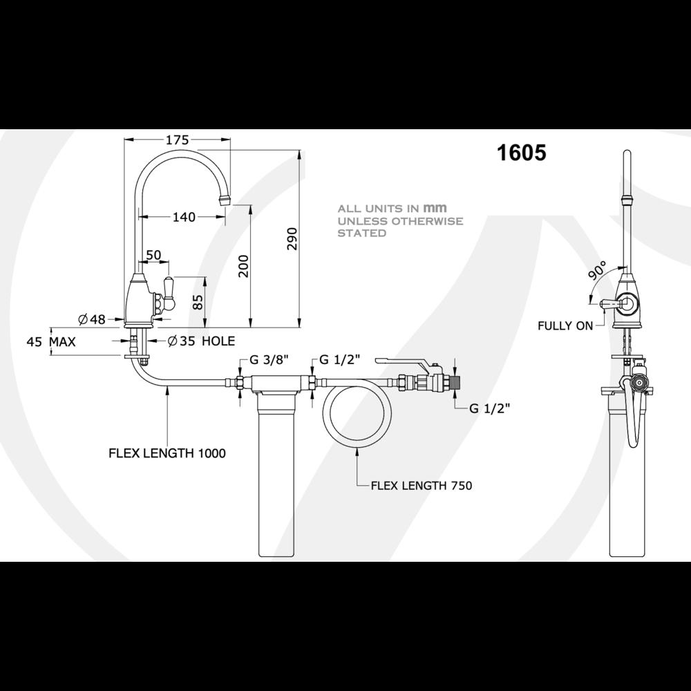 Perrin & Rowe Traditional Keukenkraan Traditional Mini  Filtration E.1605