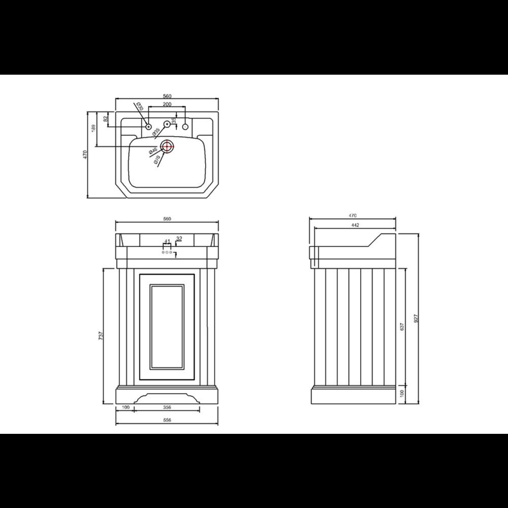 BB Edwardian Edwardian 56cm wastafel (3 kraangaten) met onderkast