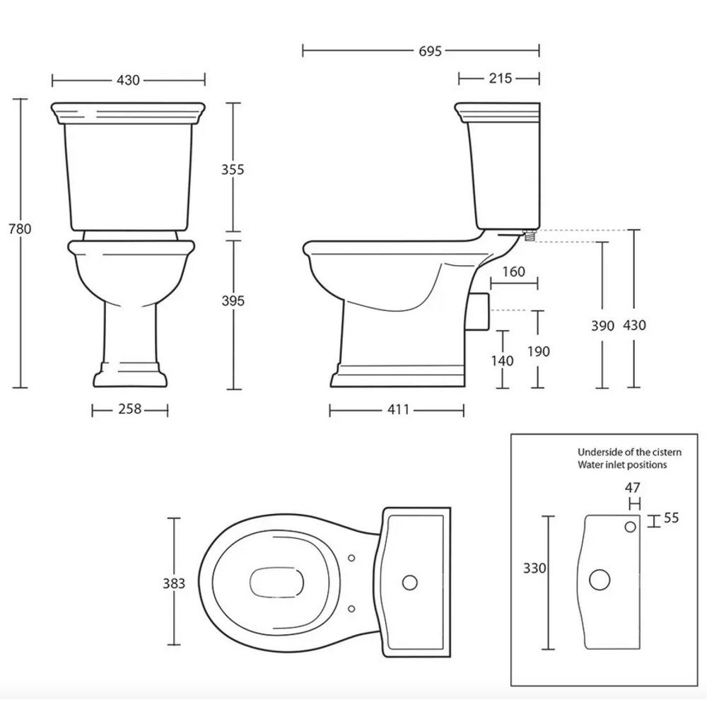 Imperial Bergier Close coupled toilet with cistern - p-trap