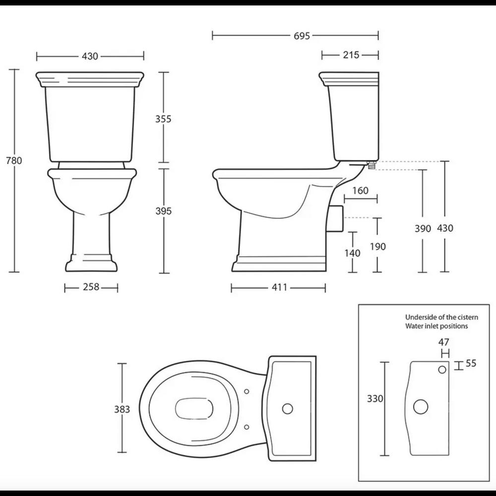 Imperial Bergier Duoblok toilet met porseleinen hendel, achteruitlaat (PK)