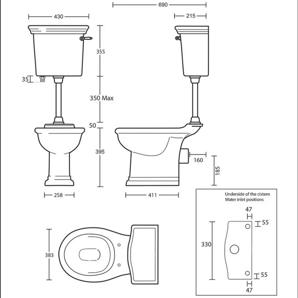 Imperial Bergier halfhoog toilet met porseleinen hendel, achteruitlaat (PK)