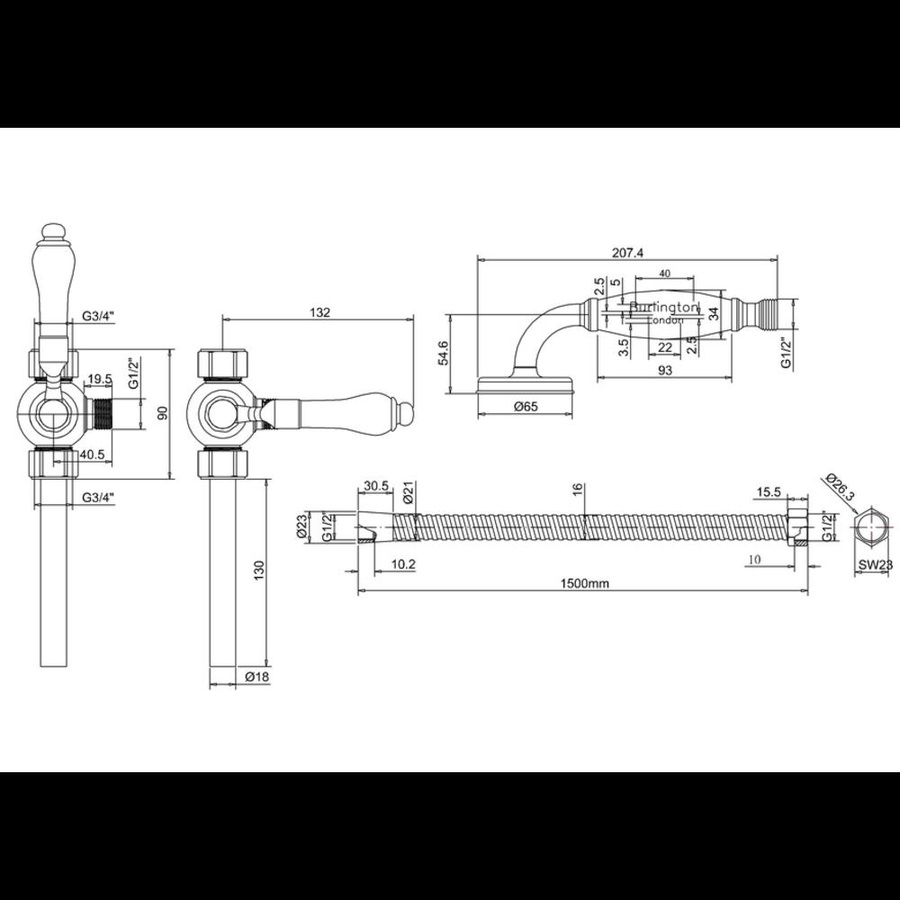 BB Edwardian Diverter, handdouche & slang V27