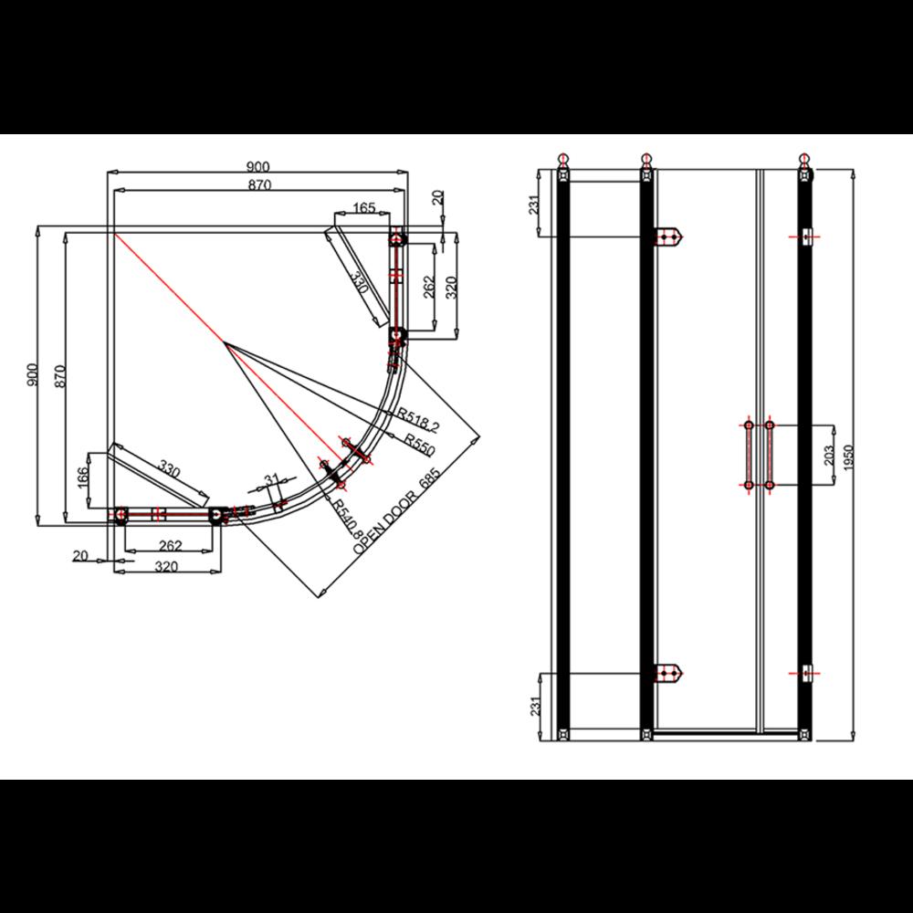 Burlington BU douchedeuren - hoekopstelling 80cm & 90cm