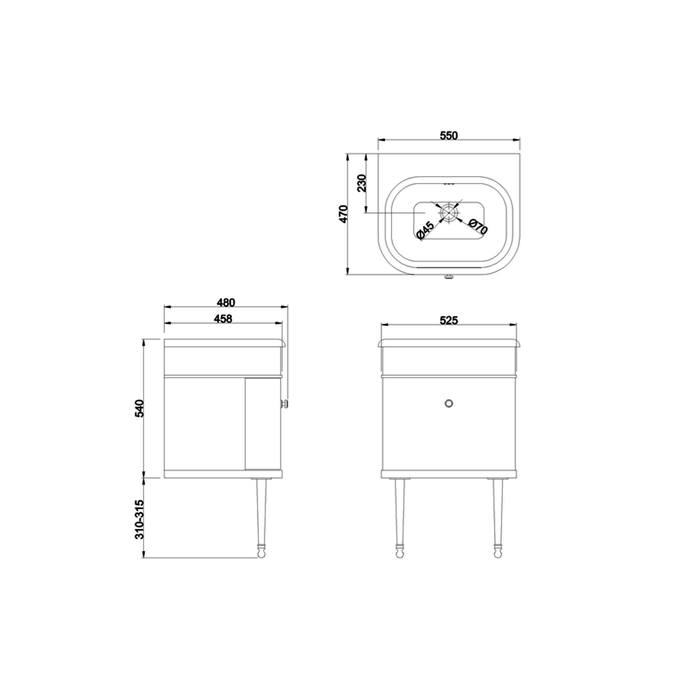 BB Chalfont Chalfont 55cm onderkast met wastafel CH55-B7E