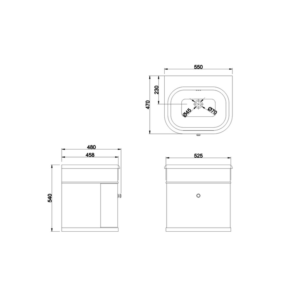BB Chalfont Chalfont 550mm single drawer unit CH55-B7E