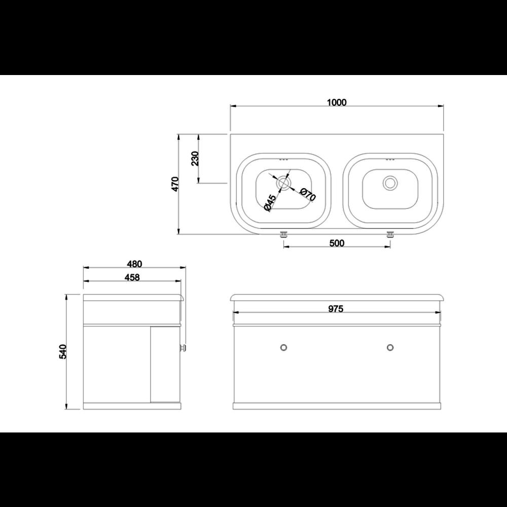 BB Chalfont Chalfont 1000mm single drawer unit with double basin CH100-B10DE