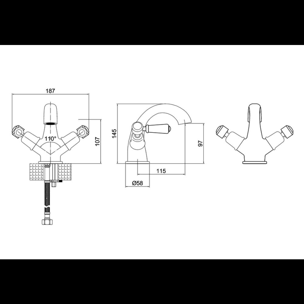 BB Edwardian Black Kensington Black 1-hole basin mixer (without waste) KE45-QT.BLA