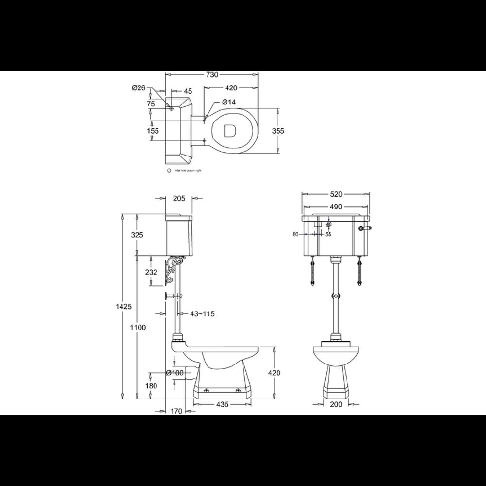 BB Edwardian Bespoke Medium toilet met porseleinen reservoir, achteruitlaat (PK)  - zwart