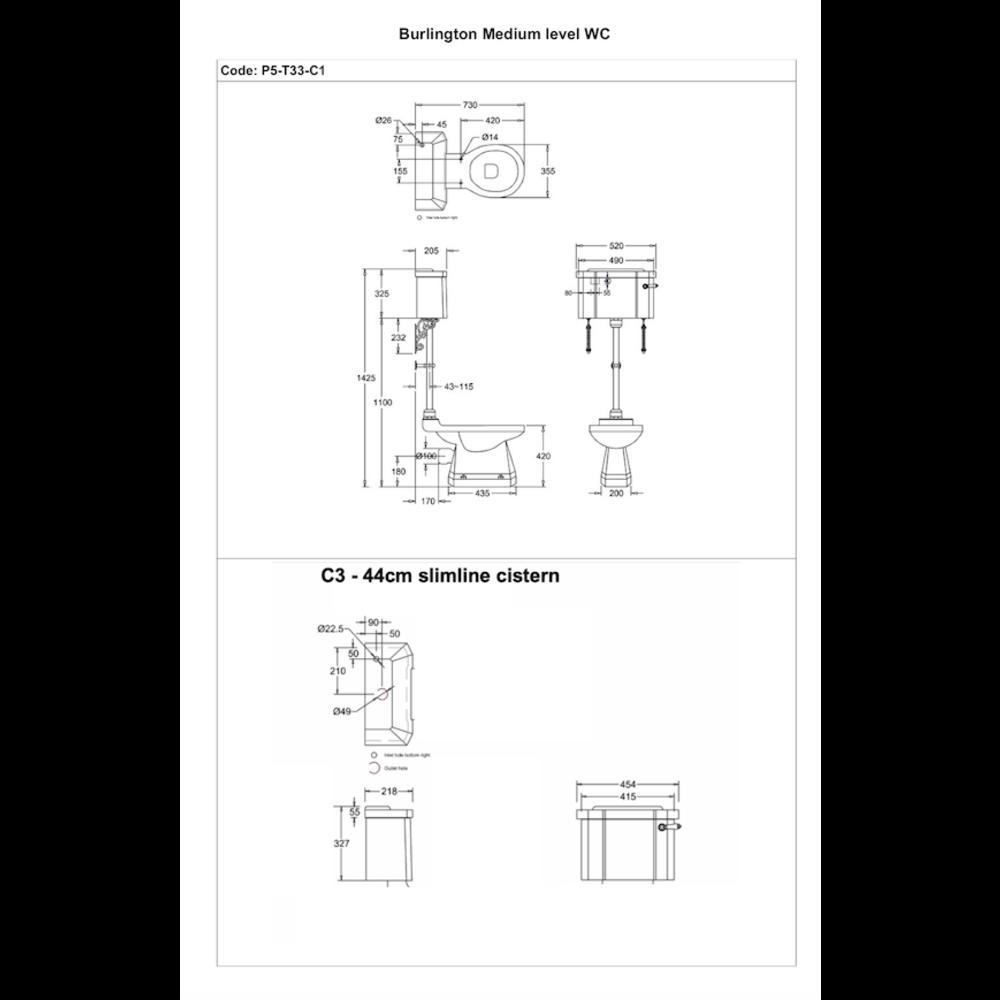 BB Edwardian Medium level toilet with porcelain cistern - p-trap