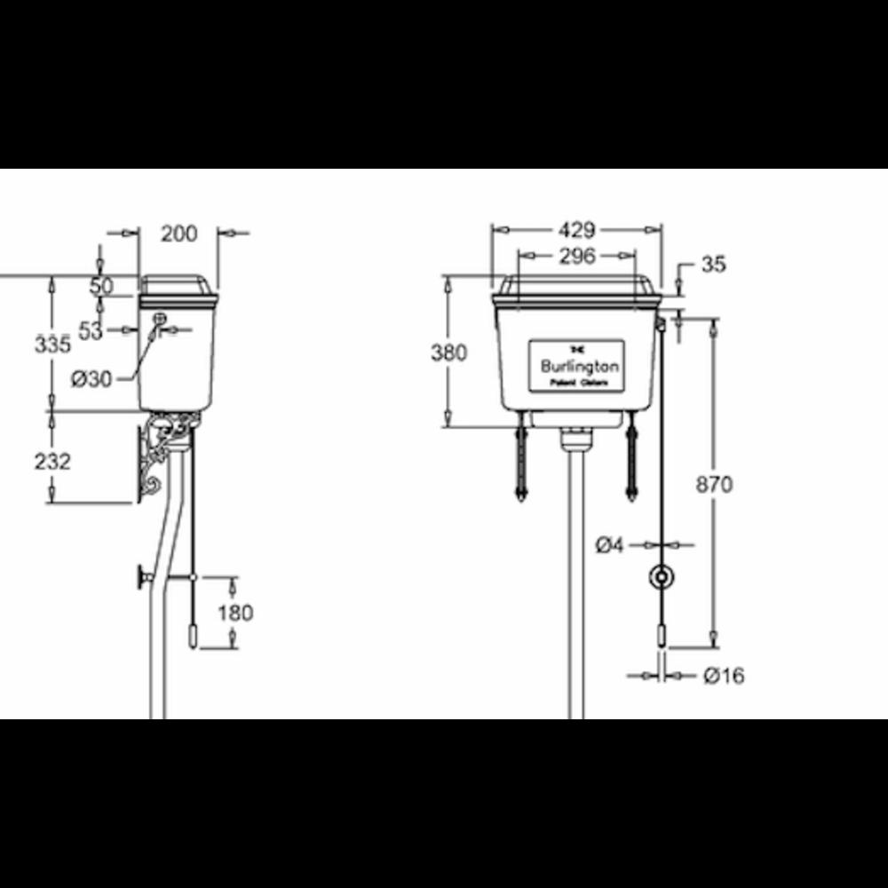 BB Edwardian Low level toilet (p-trap) with aluminium cistern