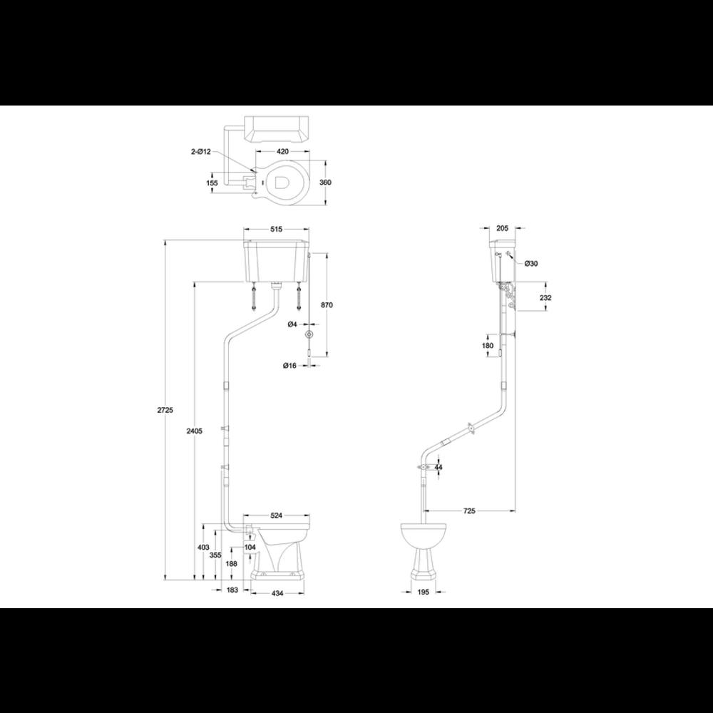 Burlington High Level Flush Pipe Kit Set T34 (met of zonder reservoir)