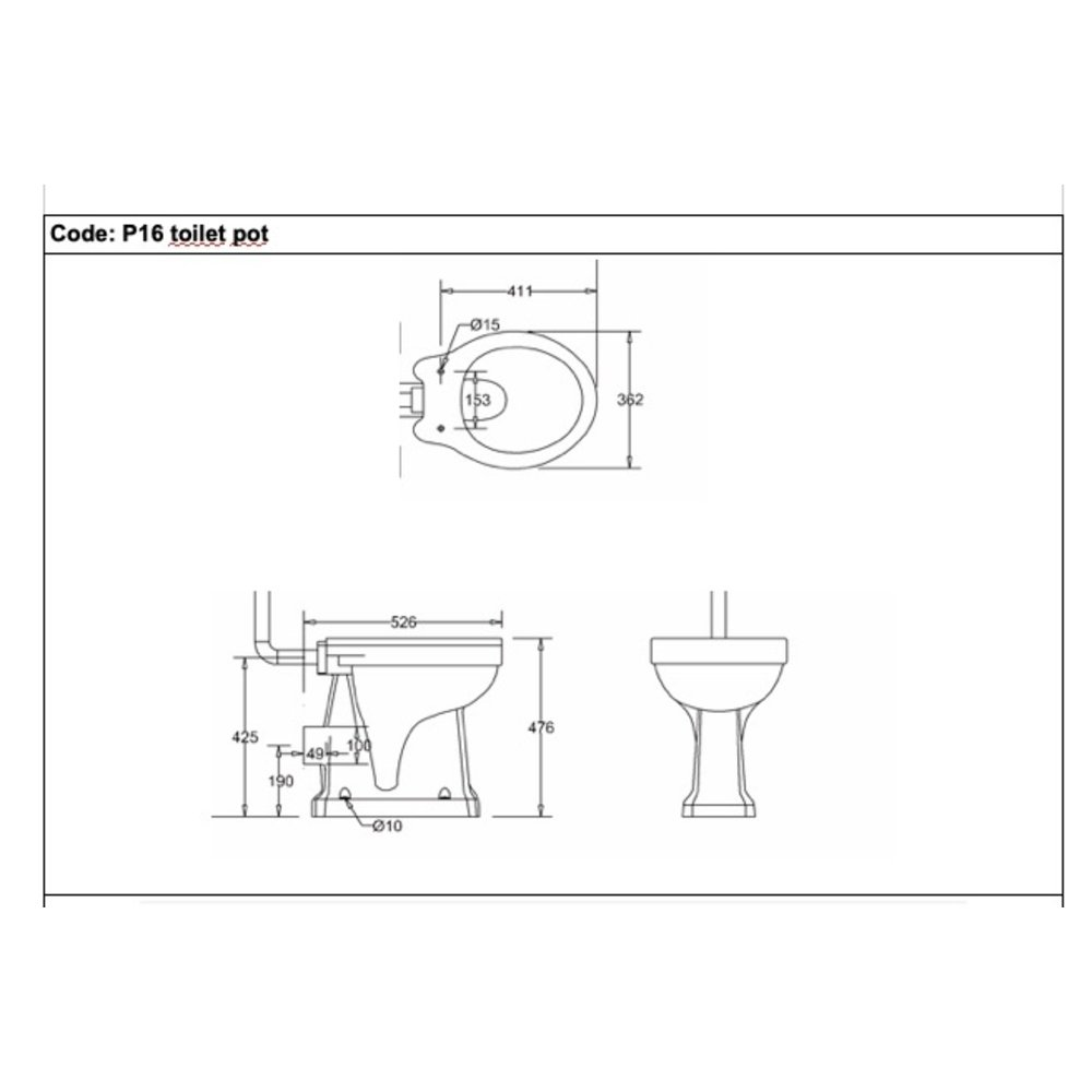 BB Edwardian High level toilet (p-trap) with porcelain cistern and T34 flush pipe