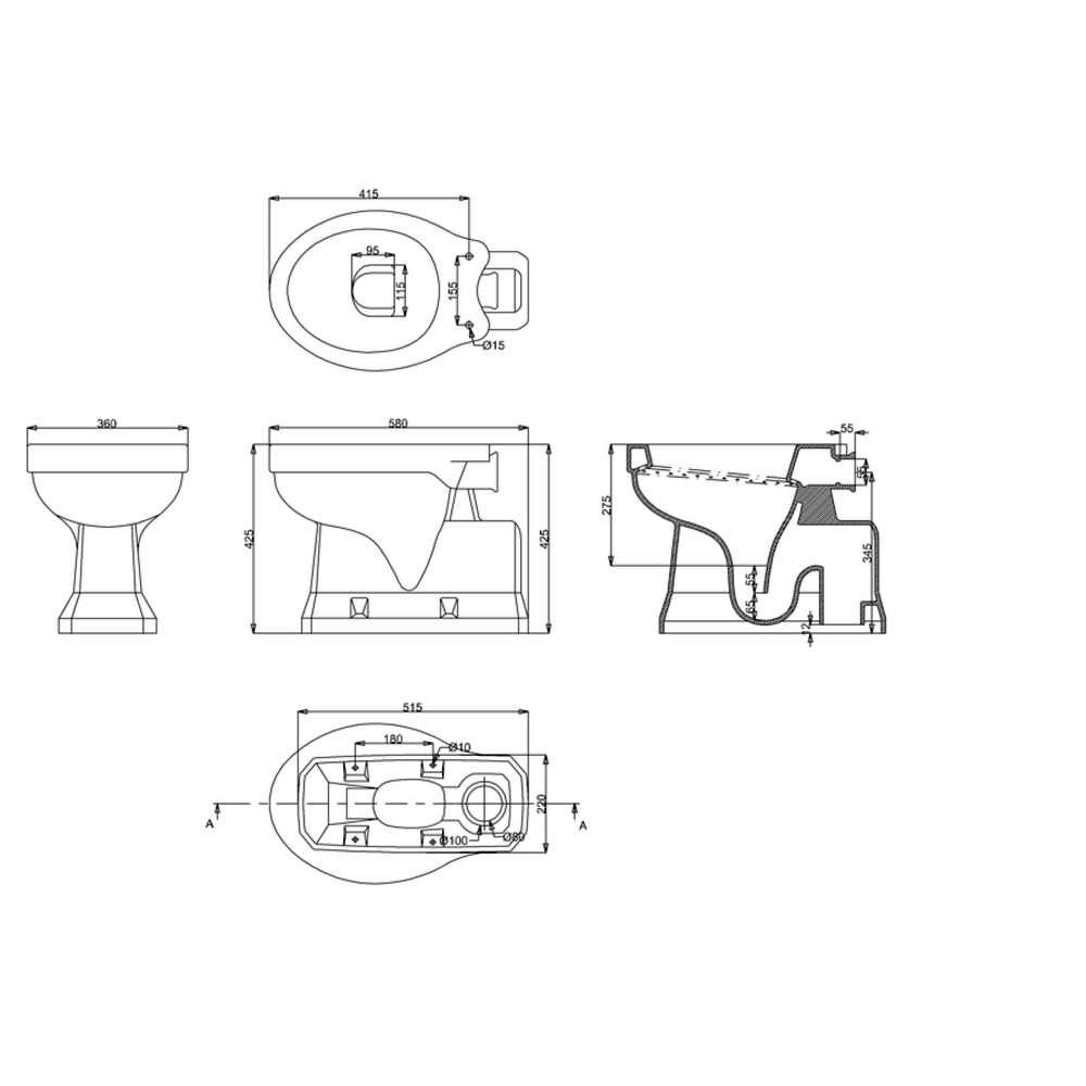 BB Edwardian Hooghang toilet (AO) met porseleinen reservoir  en T34-valpijp