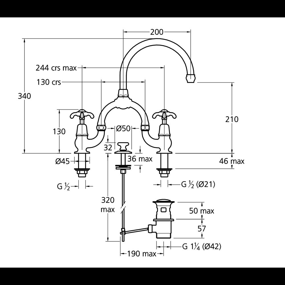 Lefroy Brooks 1910 La Chapelle LB1910 La Chapelle 2-hole basin bridge mixer with lever handles FM-9000
