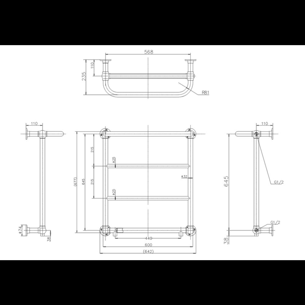 Burlington Klassieke wand-handdoekradiator  Cleaver R3